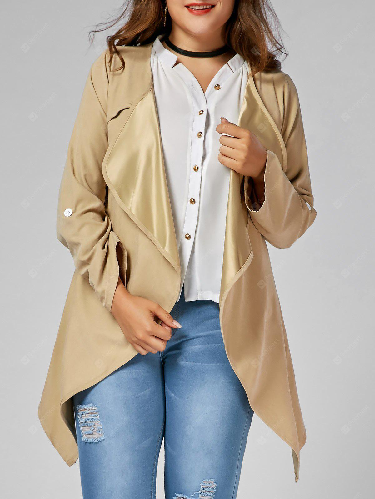 Asymmetric Plus Size Open Front Coat