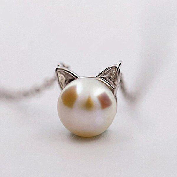 Faux Pearl Tiny Kitten Charm Necklace