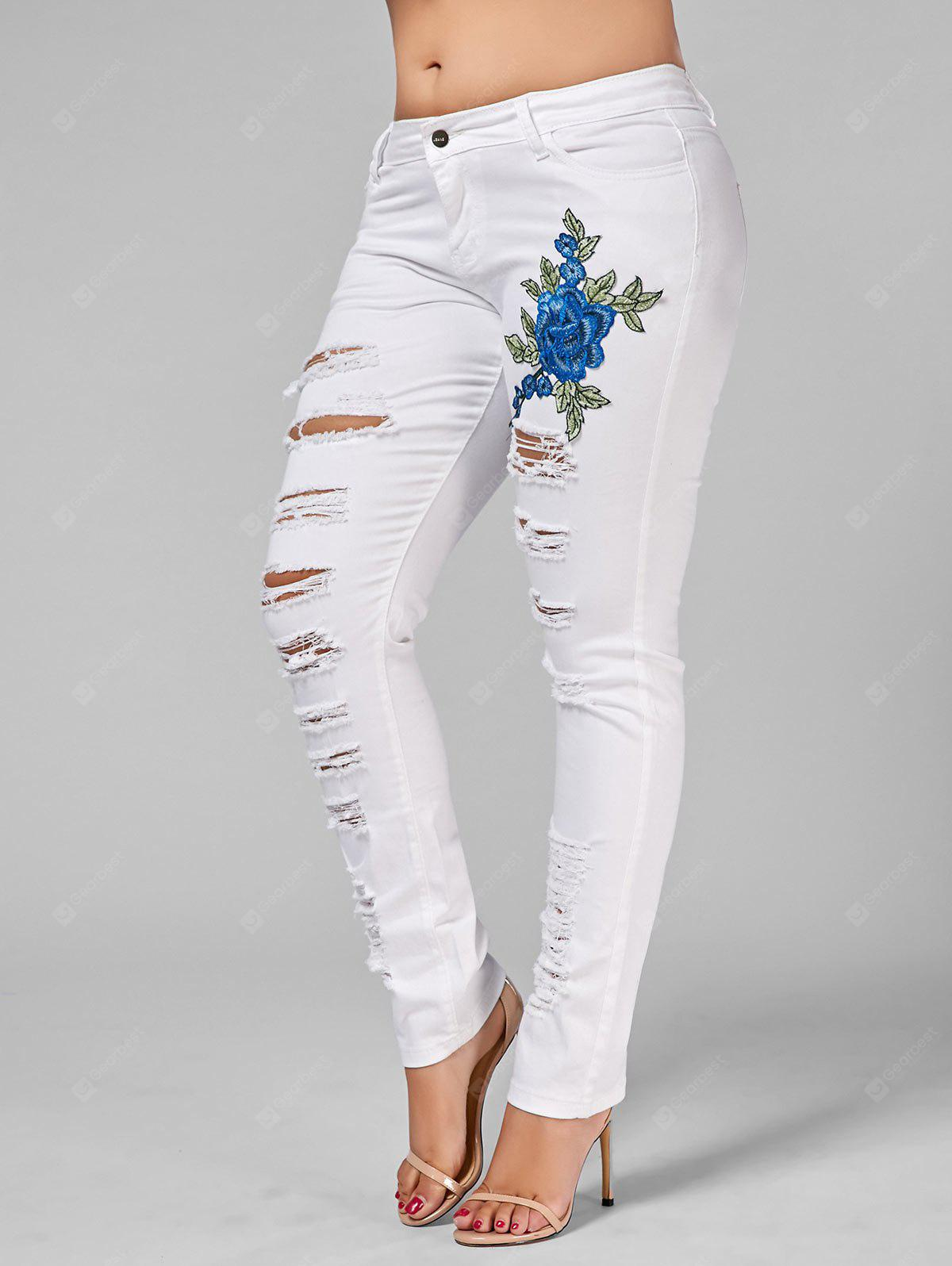 Plus Size Embroidered Ripped Skinny Jeans