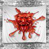 3D Demon Print Halloween Wall Hanging Tapestry - RED