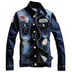 Graphic Appliques Single Breasted Ripped Denim Jacket - DENIM BLUE