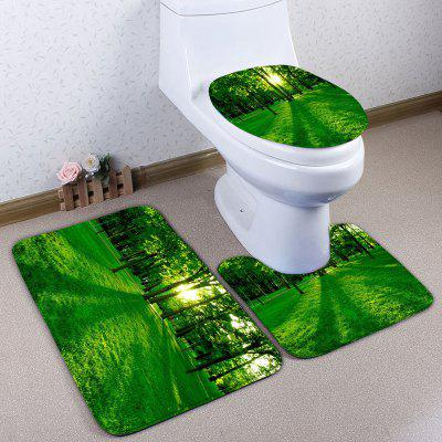 Buy GREEN 3Pcs/Set Flannel Forest Print Bath Toilet Rug for $23.33 in GearBest store