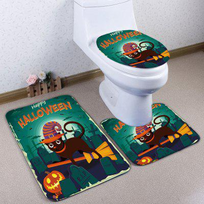 3Pcs / Set Flannel Halloween Cat Bath Toilet Mat