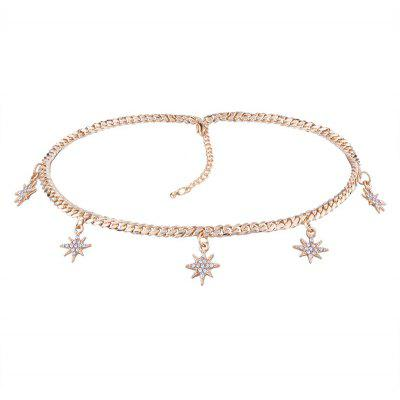 Buy GOLDEN Alloy Rhinestone Sun Star Charm Chain Necklace for $3.69 in GearBest store