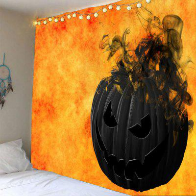 Buy BLACK AND ORANGE Halloween Smoking Pumpkin Printed Waterproof Wall Tapestry for $14.44 in GearBest store