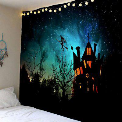 Buy BLACK Halloween Witch Printed Waterproof Wall Hanging Tapestry for $12.27 in GearBest store