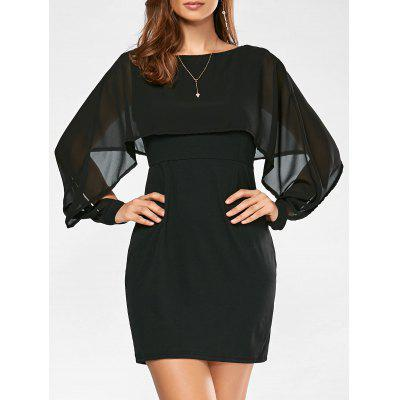 Buy BLACK S Chiffon Panel Long Sleeve Bodycon Capelet Dress for $20.27 in GearBest store