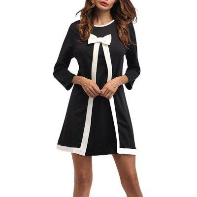 Buy BLACK XL Bowknot Embellished Mini Shift Dress for $30.95 in GearBest store