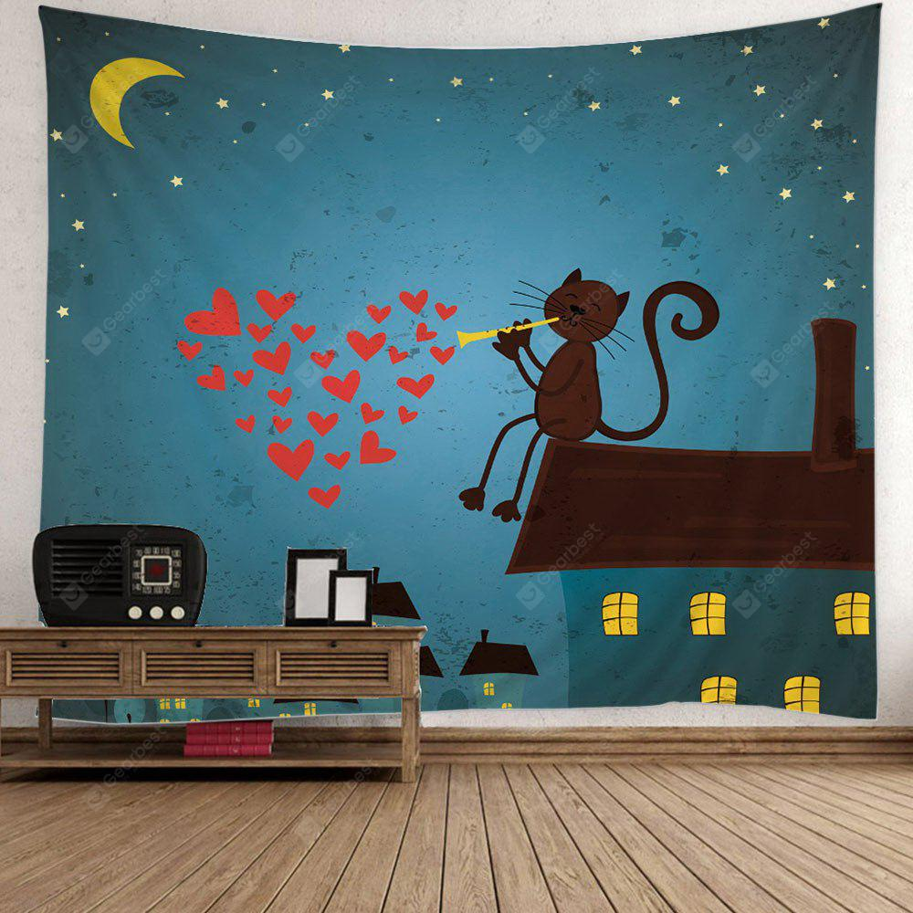 DEEP BLUE Cartoon Cat Heart Print Wall Hanging Tapestry