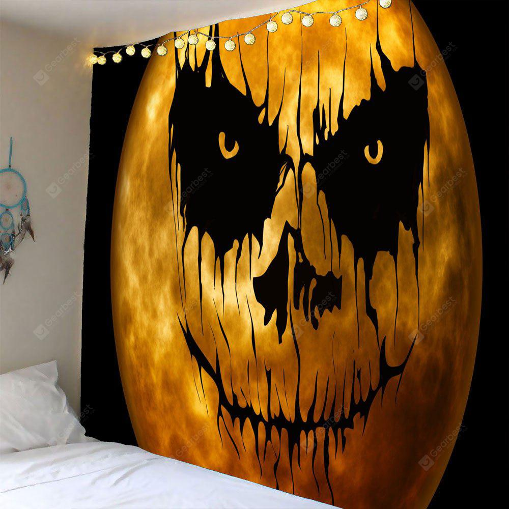 BLACK AND ORANGE Horrible Pumpkin Print Halloween Waterproof Wall Tapestry