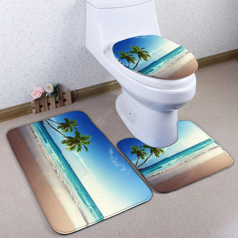 3Pcs / Set Beach Coconut Tree Flannel Bath Toilet Mat