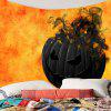 Halloween Smoking Pumpkin Printed Waterproof Wall Tapestry - BLACK AND ORANGE
