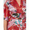 Plus Size Longline Satin Pajama Kimono - BRIGHT RED