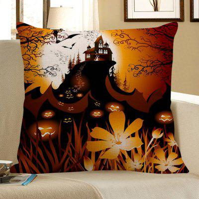 Buy BLACK AND ORANGE Halloween Pumpkin Face Floral Pattern Pillow Case for $4.56 in GearBest store