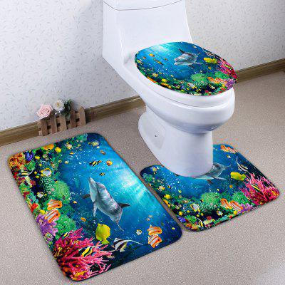3Pcs Sea World Print Skidproof Flanell Toilettenpapier Set