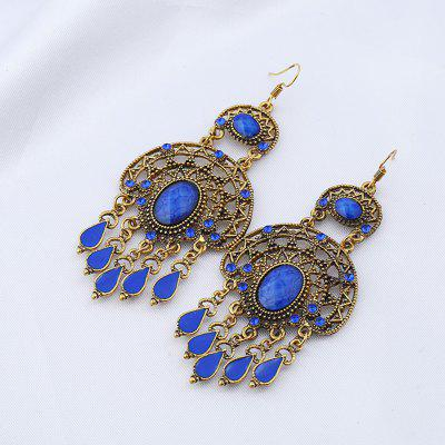 Faux Gem Oval Teardrop Chandelier Earrings