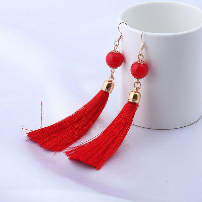 Vintage Bead Tassel Hook Drop Earrings