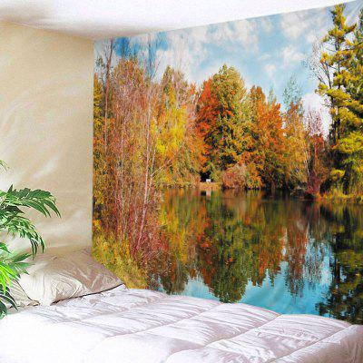 Buy DEEP YELLOW Wall Hanging Art Decor Forest Lake Print Tapestry for $15.00 in GearBest store