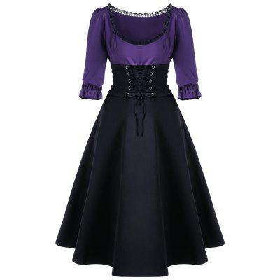 Buy BLACK AND PURPLE L Lace Up Corset Waist Midi Skater Dress for $25.23 in GearBest store