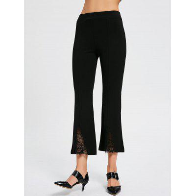 Buy BLACK M Lace Panel High Waisted Boot Cut Pants for $20.92 in GearBest store