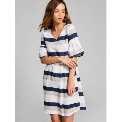 Cut Out Flare Sleeve Striped Dress