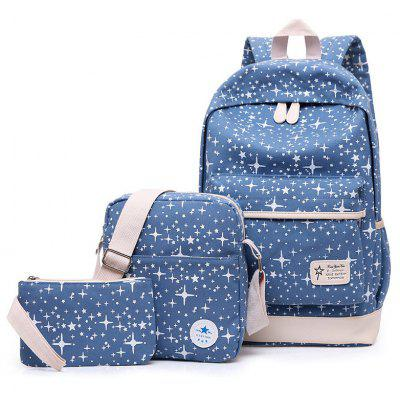 3 Pieces Canvas Star Print Backpack Set