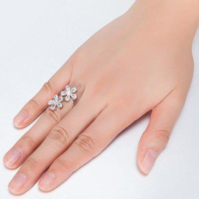 Rhinestone Double Flowers Ring