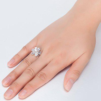Faux Crystal Inlay Flower Shape Ring