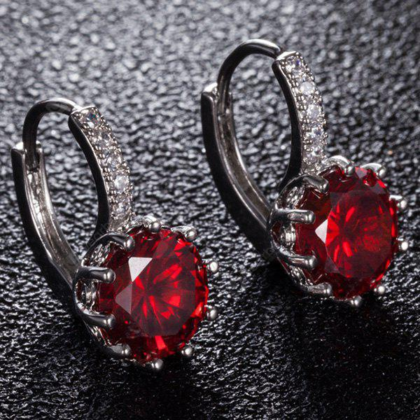 Faux Gemstone Rhinestone Drop Earrings