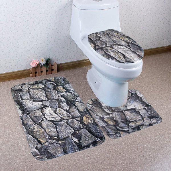 GRAY Rock Pattern Coral Fleece 3 Pieces Bathroom Mats Set