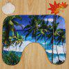 3Pcs / Set Seaside Palm Tree Coral Fleece Toilet Rugs - COR MISTURA
