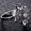 Faux Crystal Inlay Flower Shape Ring - SILVER