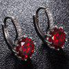 Faux Gemstone Rhinestone Drop Earrings - VERMELHO