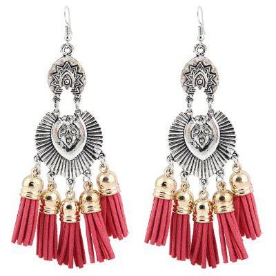 Engraved Face Tassel Chandelier Hook Earrings