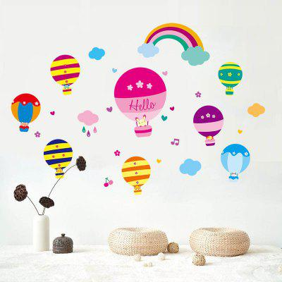 Cartoon Hot Air Balloon Wall Art Stickers Para Crianças Quarto