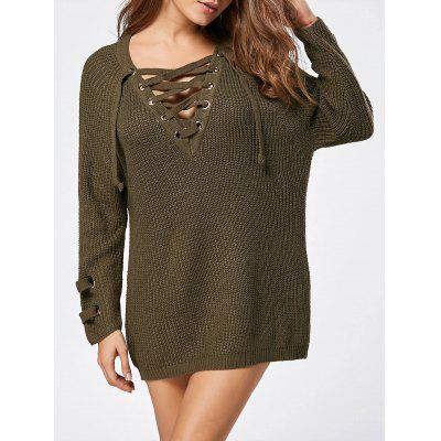 Lace Up Raglan Sleeve Ribbed Trim Sweater 221310003