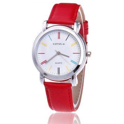 Buy RED Faux Leather Band Round Watch for $8.92 in GearBest store