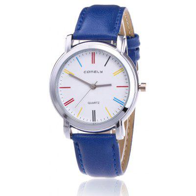 Buy BLUE Faux Leather Band Round Watch for $8.92 in GearBest store