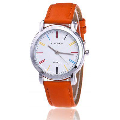 Buy ORANGE RED Faux Leather Band Round Watch for $8.92 in GearBest store
