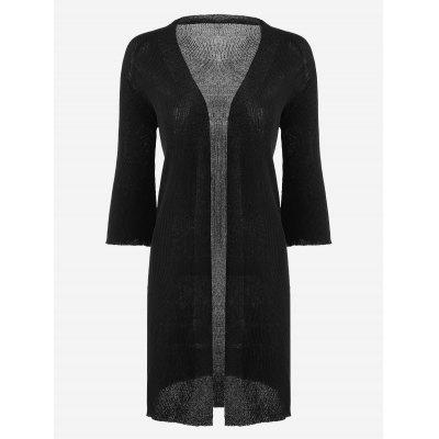 Open Front Knitted Long Cardigan