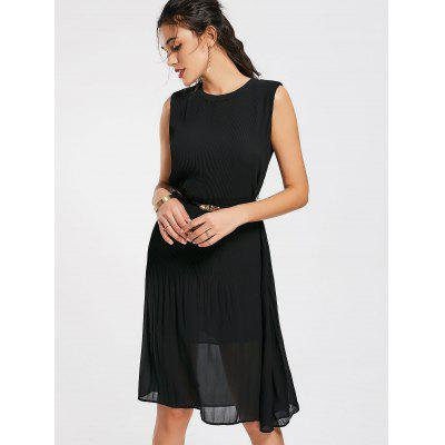 Belted Pleated Panel Chiffon Midi Dress