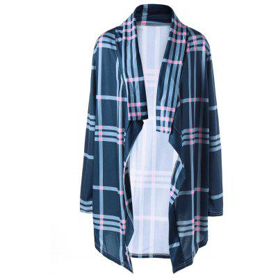 Buy CADETBLUE L Shawl Collar Plaid Drape Cardigan for $21.11 in GearBest store