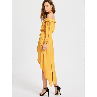 Belted Off The Shoulder Asymmetric DressWomens Dresses<br>Belted Off The Shoulder Asymmetric Dress<br><br>Dresses Length: Mid-Calf<br>Material: Polyester<br>Neckline: Off The Shoulder<br>Occasion: Causal, Going Out<br>Package Contents: 1 x Dress  1 x Belt<br>Pattern Type: Solid Color<br>Season: Spring, Fall<br>Silhouette: Asymmetrical<br>Sleeve Length: Long Sleeves<br>Style: Casual<br>Weight: 0.3200kg<br>With Belt: Yes