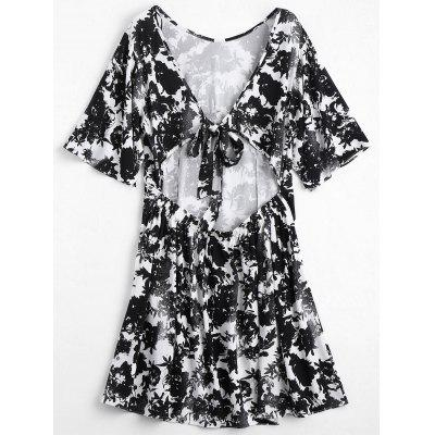 Open Back Floral Print DressWomens Dresses<br>Open Back Floral Print Dress<br><br>Dresses Length: Knee-Length<br>Embellishment: Backless<br>Material: Polyester<br>Neckline: Round Collar<br>Occasion: Casual , Going Out<br>Package Contents: 1 x Dress<br>Pattern Type: Floral<br>Season: Summer<br>Silhouette: A-Line<br>Sleeve Length: Half Sleeves<br>Style: Brief<br>Weight: 0.2900kg<br>With Belt: No