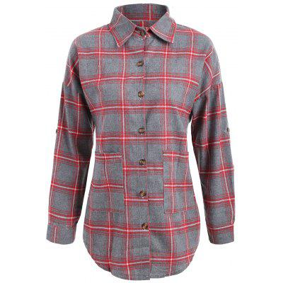 Plaid Button Up Plus Size Shirt Jacket