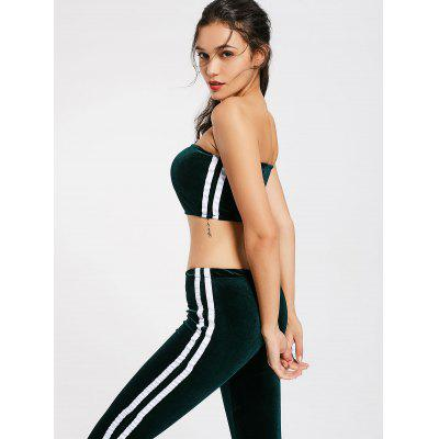 Velvet Striped Trim Tube Top and Flare Pants