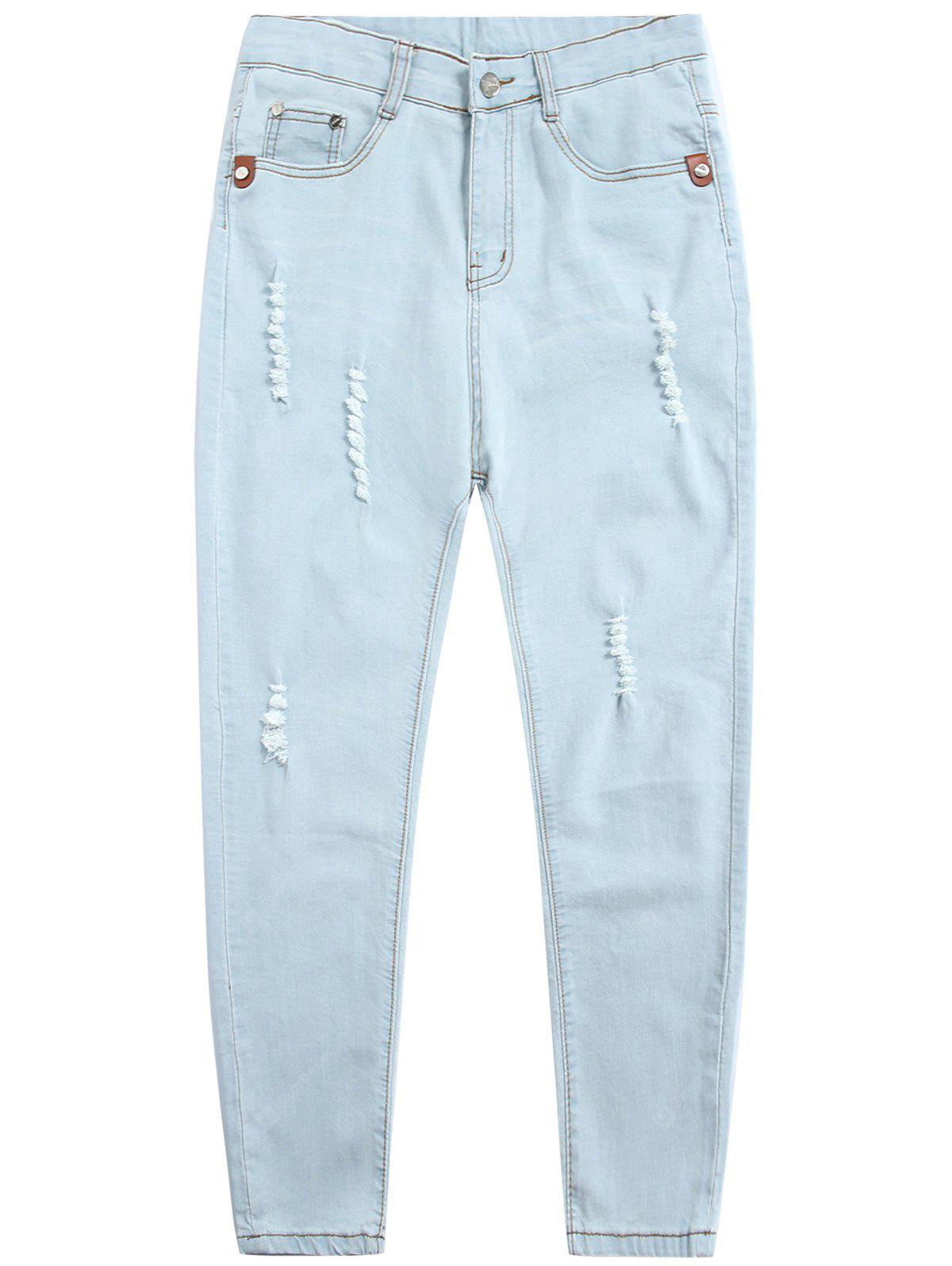 Light Wash Zip Fly Distressed Jeans