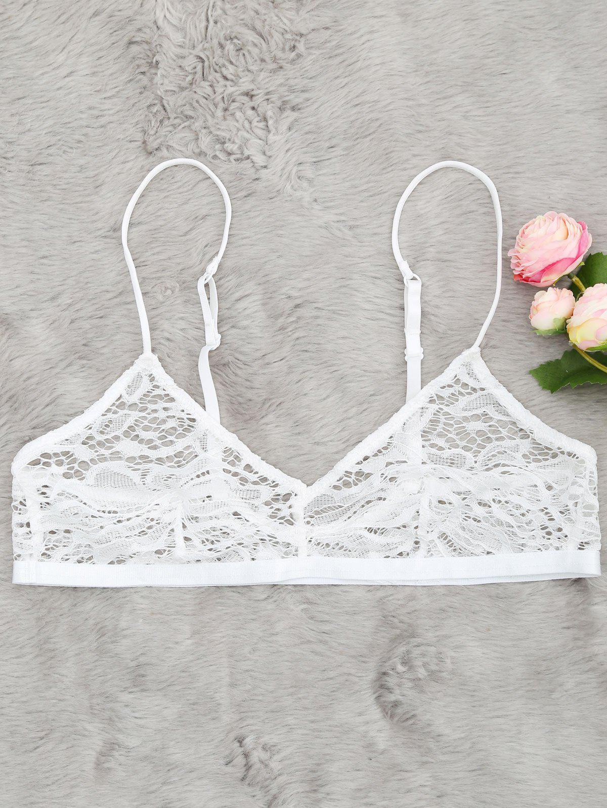 Plunging Neck Sheer Lace Bralette