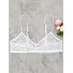 Plunging Neck Sheer Lace Bralette - WHITE
