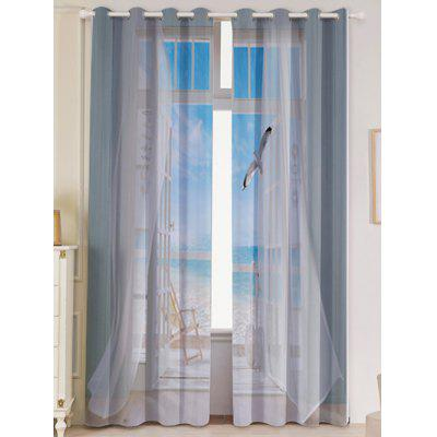 Faux Window Seagull Printed Window Curtains